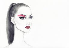 härlig skönhet eyes för naturståenden för makeup den naturliga kvinnan abstrakt vattenfärg skärm för efterföljd för bakgrundsdato Arkivbilder