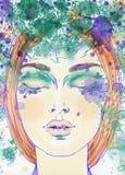härlig skönhet eyes för naturståenden för makeup den naturliga kvinnan skärm för efterföljd för bakgrundsdatormode Fotografering för Bildbyråer