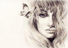 härlig skönhet eyes för naturståenden för makeup den naturliga kvinnan skärm för efterföljd för bakgrundsdatormode Arkivfoto