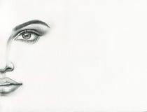 härlig skönhet eyes för naturståenden för makeup den naturliga kvinnan skärm för efterföljd för bakgrundsdatormode Arkivbild