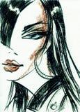 härlig skönhet eyes för naturståenden för makeup den naturliga kvinnan skärm för efterföljd för bakgrundsdatormode Royaltyfria Foton