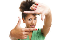 härlig skapande fingerramkvinna Arkivbilder