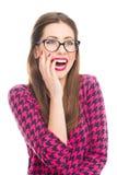 härlig skratta kvinna Royaltyfri Foto