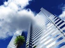 Härlig skyskrapa mot himlen med moln Royaltyfria Bilder