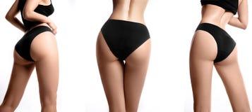 härlig slank huvuddelkvinnlig Form för ` s för vällustig kvinna med ren sund hud, lägenhetmage Spa skönhetdel av kroppen Perfekt  royaltyfria foton
