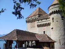 Härlig slott Chillon en av den mest besökte slotten i Schweiz royaltyfria foton