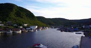 Härlig småaktig hamn under sommar, Newfoundland, Kanada arkivfilmer