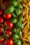 Härlig smaklig färgrik modell av italiensk pasta, tomater och Arkivbilder
