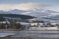 Härlig snö - övervintra platser i den skotska Skotska högländerna Arkivfoto