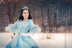 Härlig snödrottning i vinterdekor Royaltyfri Fotografi