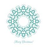 Härlig snöflingamodell Dekorativ prydnad för julkort mandala också vektor för coreldrawillustration Royaltyfria Bilder