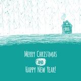 härlig snöig julstuga och dekorerat granträd royaltyfri illustrationer