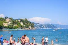 Härlig solig dag på den Santa Margherita Ligure stranden Royaltyfria Foton