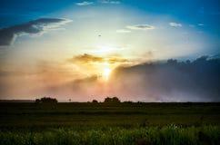 Härlig solnedgång över fält Fotografering för Bildbyråer