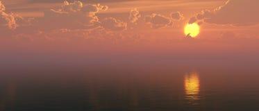 Härlig solnedgång över havsyttersidan Royaltyfria Foton