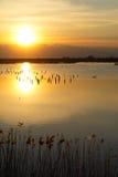Härlig solnedgång över sjön med himlen Arkivbilder