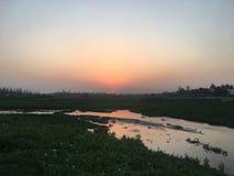 Härlig solnedgång, Dhaka, Bangladesh Royaltyfri Bild