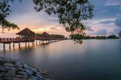 Härlig solnedgång för portDickson strand Royaltyfri Foto