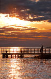 härlig solnedgång för strand Arkivbild