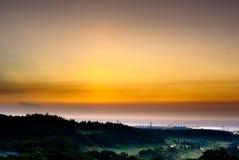 härlig solnedgång för strand Royaltyfri Fotografi