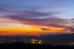 Härlig solnedgång i Chiang Mai, Thailand arkivfoto