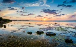 Härlig solnedgång i de Florida tangenterna vid nyckel- Largo Fotografering för Bildbyråer
