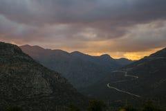Härlig solnedgång i Grekland Fotografering för Bildbyråer