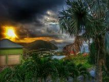 Härlig solnedgång i helgonet kitts Fotografering för Bildbyråer