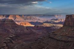 Härlig solnedgång nära den Marlboro punkten Canyonlands Utah Royaltyfria Bilder
