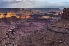 Härlig solnedgång nära den Marlboro punkten Canyonlands Utah Arkivbild