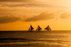 Härlig solnedgång på Boracay, Filippinerna Royaltyfri Foto