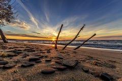 Härlig solnedgång på den portAustin stranden i Michigan Royaltyfri Fotografi