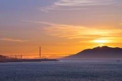 Härlig solnedgång på San Francisco Bay Fotografering för Bildbyråer