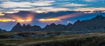 Härlig solnedgångBadlandsnationalpark South Dakota royaltyfri bild
