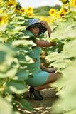härlig solroskvinna Royaltyfri Fotografi