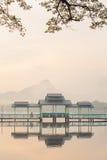Härlig soluppgång över Kan Thar Yar sjön i Hpa Royaltyfri Bild