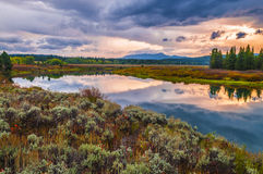 Härlig soluppgång i Grant Teton National Park arkivfoto