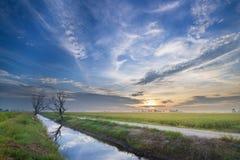 Härlig soluppgång på kanalen med färgrik himmel och moln Arkivbilder