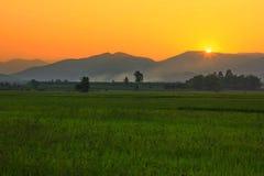 Härlig soluppgånghimmelkontur Arkivfoton
