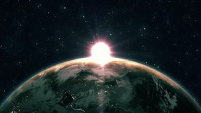 Härlig soluppgångsikt från utrymme på planetjord Nära övre rotera för värld i universum av stjärnor för blå himmel Höga detaljera