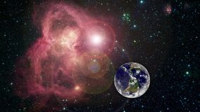 Härlig soluppgångvärldshorisont Planetjord fr?n utrymme Roterande animering f?r planetjord Gemet innehåller utrymme, planet royaltyfri illustrationer