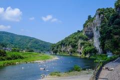 härlig sommar för liggandeflodsky Fotografering för Bildbyråer