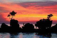 härlig sommarsolnedgång för strand Royaltyfri Bild