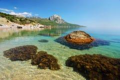 Härlig sommarsolnedgång på stranden Black Sea Krim berg Royaltyfri Foto