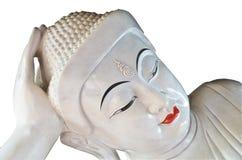 Härlig sova vit Buddha Arkivfoto