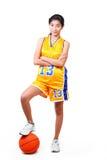härlig spelare för basket Arkivbild