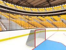 Härlig sportarena för ishockey med gulingplatser och storgubbeaskar Arkivbild