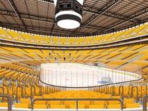 Härlig sportarena för ishockey med gulingplatser och storgubbeaskar Royaltyfria Bilder