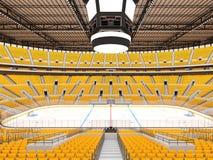 Härlig sportarena för ishockey med gulingplatser och storgubbeaskar Arkivbilder