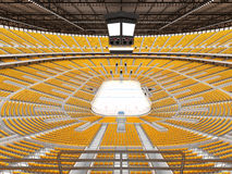 Härlig sportarena för ishockey med gulingplatser och storgubbeaskar Royaltyfri Bild